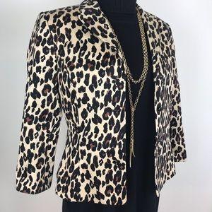 Tahari Leopard Print Career Blazer 3/4 Sleeve, 4